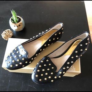 Michael Kors Ailee Black Leather Studded Flats